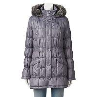 Juniors' Urban Republic Hooded Faux-Fur Puffer Jacket