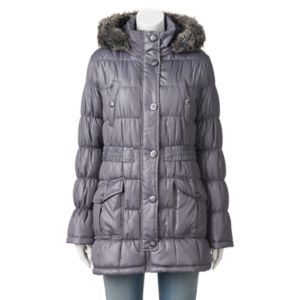 Juniors' Urban Republic Hooded Faux-Fur Puffer Jacket