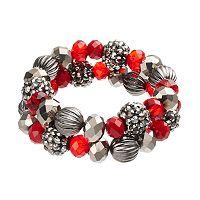 Red Beaded Fireball Stretch Bracelet Set