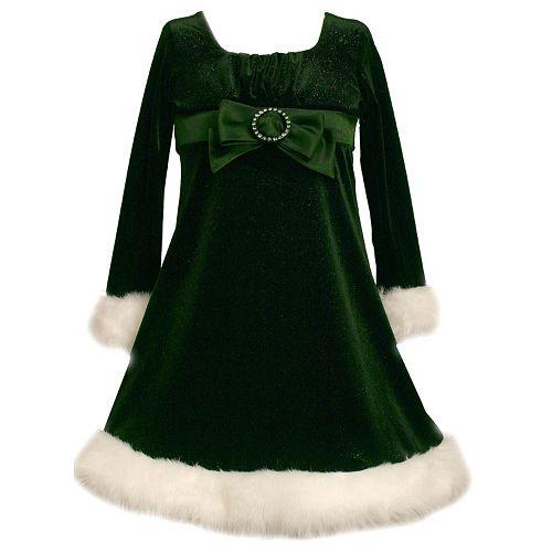 5e0c7d03 Girls 7-16 Bonnie Jean Sparkly Velvet Green Santa Dress