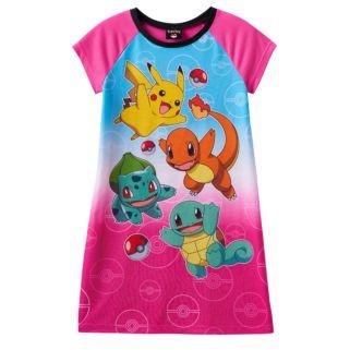 Girls 6-14 Pokemon Pikachu, Charmander, Squirtle & Bulbasaur Nightgown