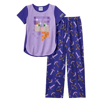 Girls 6-14 Minecraft Armored Alex Pajama Set