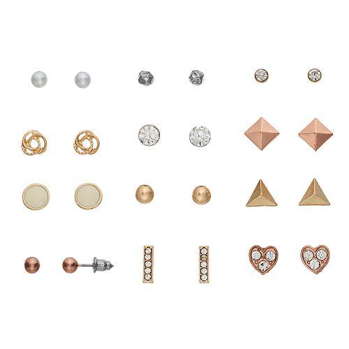 Mudd® Nickel Free Heart, Pyramid & Round Stud Earring Set