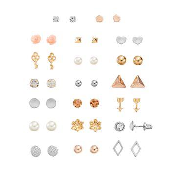 Mudd® Flower, Heart, Arrow & Skeleton Key Nickel Free Stud Earring Set