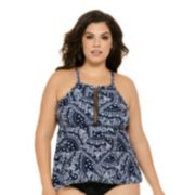Juniors' Plus Size Costa Del Sol Scroll High-Neck Tankini Top