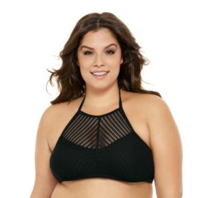 Juniors' Plus Size Costa Del Sol High-Neck Halter Bikini Top