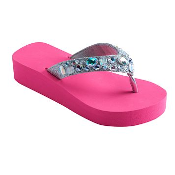 Girls 4-16 Gem Wedge Flip Flops