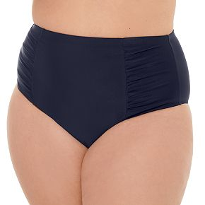 Juniors' Plus Size Costa Del Sol Solid High-Waisted Bikini Bottoms