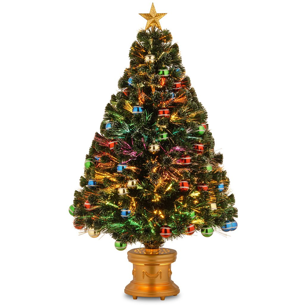 National Tree Company 4-ft. Multicolor Fiber-Optic Artificial Christmas Tree with Ornaments Floor Decor