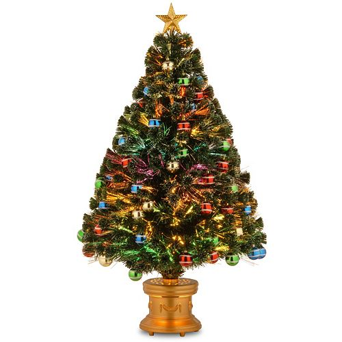 national tree company 4 ft multicolor fiber optic artificial christmas tree with ornaments floor decor