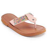 Girls 4-16 Beaded T-Strap Sandals
