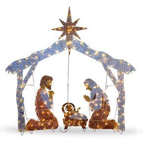 National Tree Company 72-in. Pre-Lit Sisal Nativity Scene Christmas Decor