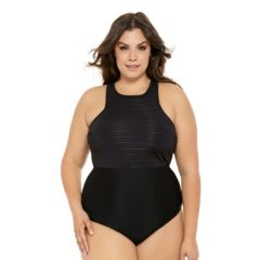 Juniors' Plus Size Costa Del Sol Striped Mesh High-Neck One-Piece Swimsuit