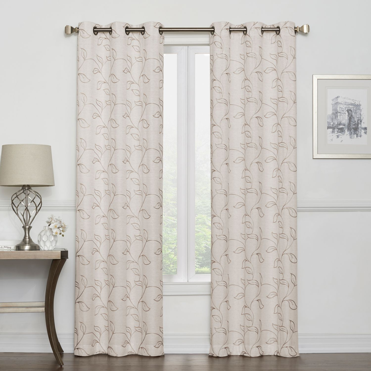 Regent Court 2 Pack Leaf Embroidery Window Curtains