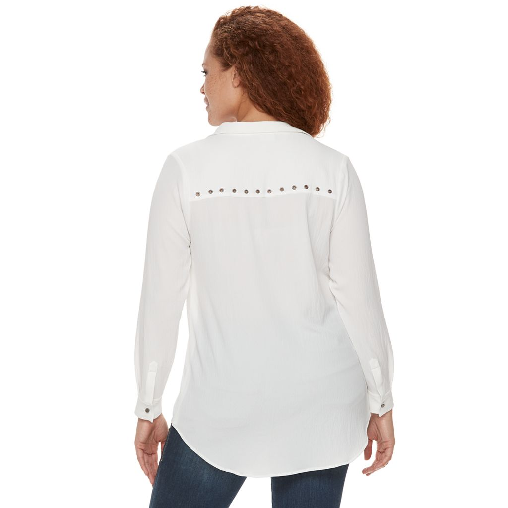 Plus Size Rock & Republic® Textured Grommet Top