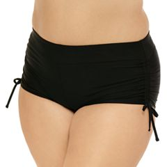 Juniors' Plus Size Costa Del Sol Ruched Boyshort Bottoms