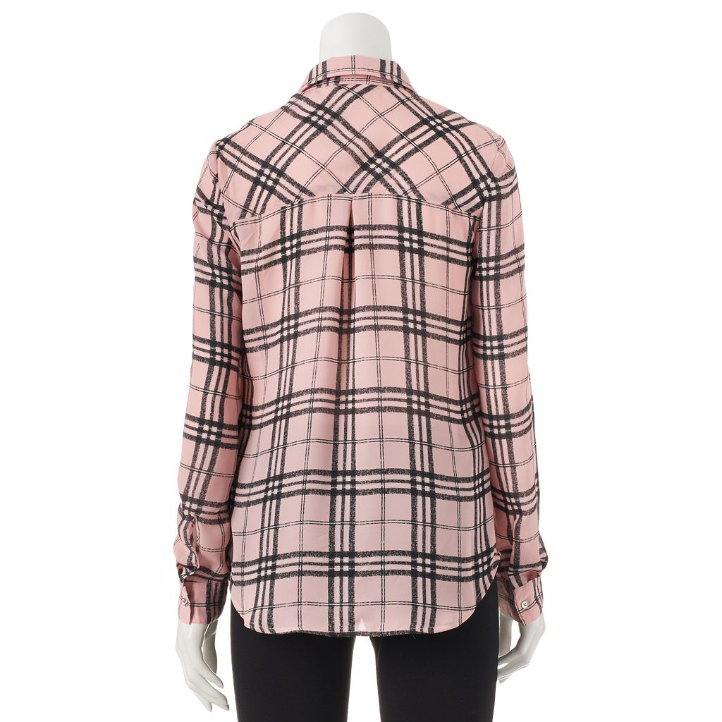 Juniors' Candie's® Lattice Button Down Top