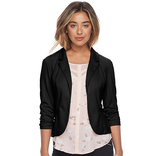 Juniors' Candie's® Ruched Lace Knit Blazer