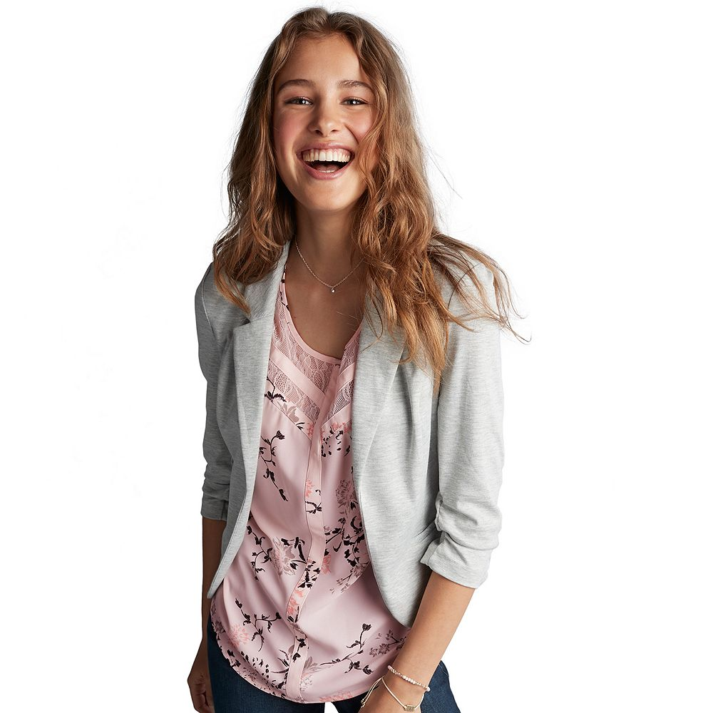 Candie's® Ruched Lace Knit Blazer