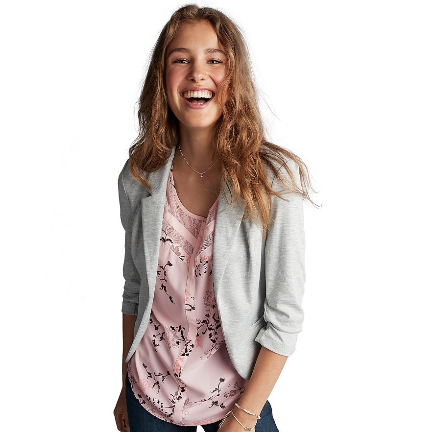 4a315aee1 Juniors' Candie's® Ruched Lace Knit Blazer · View Larger