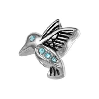 Individuality Beads Sterling Silver Crystal Hummingbird Bead