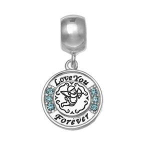 "Individuality Beads Sterling Silver Crystal ""Love You Forever"" Angel Charm"