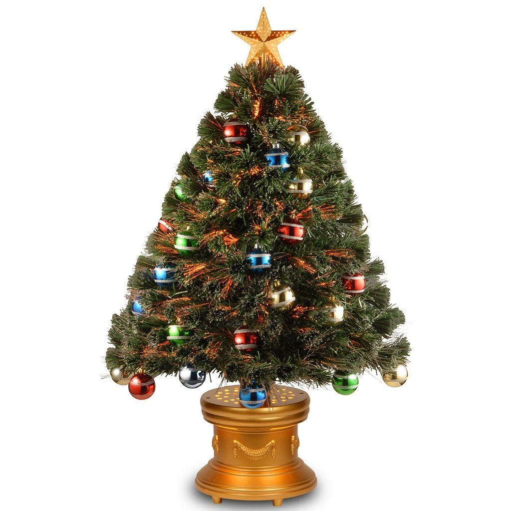 National Tree Company 3-ft. Multicolor Fiber-Optic Artificial Christmas Tree with Ornaments Floor Decor