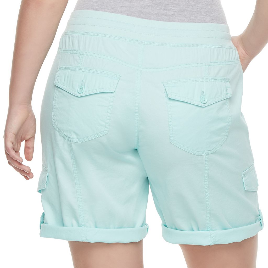 Juniors' Plus Size Unionbay Tiffany Roll-Tab Bermuda Shorts