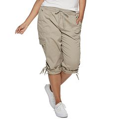 Juniors' Plus Size Unionbay Harriet Roll-Tab Capris