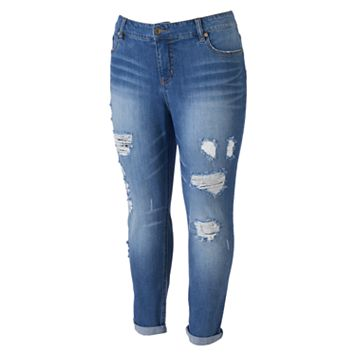 Juniors' Plus Size Unionbay Marni Ripped Skinny Jeans