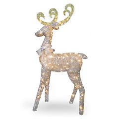 pre lit standing deer indoor outdoor decor - Pre Lit Polar Bear Christmas Decoration Set Of 3