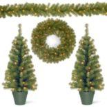 National Tree Company Pre-lit Artificial Trees, Garland & Wreath 4-piece Set