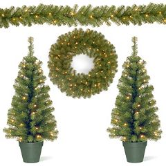 National Tree Company Pre-lit Artificial Trees, Garland & Wreath 4-piece Set