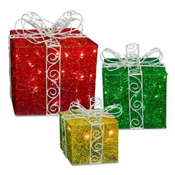 National Tree Company Pre-Lit Twinkle Lights Gift Christmas Decor 3-piece Set