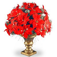 National Tree Company 26-in. Fiber Optic Artificial Poinsettia Flower & Ice Crestwood Spruce Bush