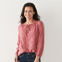 Petite SONOMA Goods for Life™ Lace-Up Embroidered Peasant Top