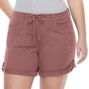 Juniors' Plus Size Unionbay Gwyneth Roll Tab Midi Shorts