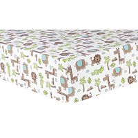 Trend Lab Safari Animal Flannel Fitted Crib Sheet