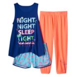 Girls 4-16 SO® Graphic Tank, Shorts & Crop Pants Pajama Set