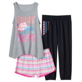 Girls 4-16 SO® Graphic Tank, Shorts & Crop Pants Pajama Set