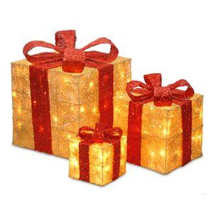 National Tree Company Sisal Christmas Gift Boxes Table Decor
