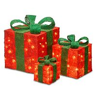 National Tree Company Sisal Christmas Gift Boxes Table Decor