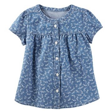 Toddler Girl OshKosh B'gosh® Button Front Floral Chambray Blouse Top