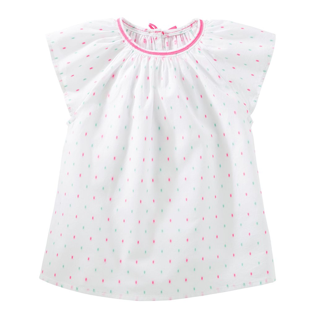 Toddler Girl OshKosh B'gosh® Clip Dot Dobby Top