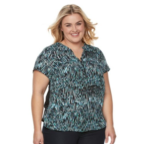 Plus Size Apt. 9® Half-Zip Mixed-Media Top
