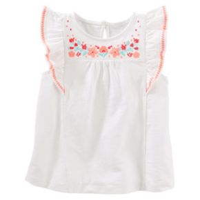 Toddler Girl Carter's White Embroidered Flounce Top