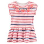 Toddler Girl OshKosh B'gosh® Puff-Print Glitter Striped Peplum Tunic