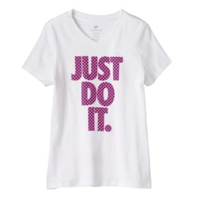 "Girls 7-16 Nike Raised Polka-Dot ""Just Do It"" Tee"