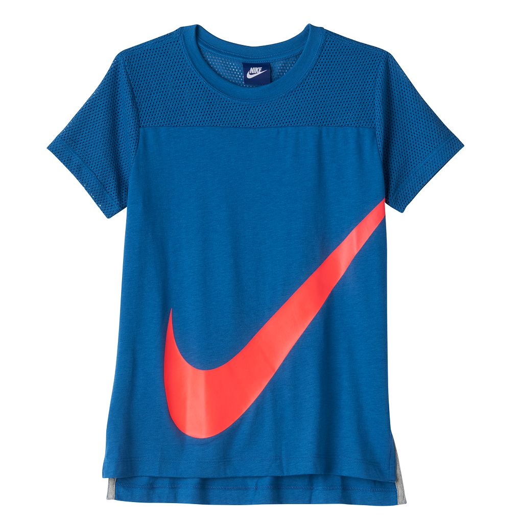 Girls 7-16 Nike Swoosh Mesh Yoke Tee