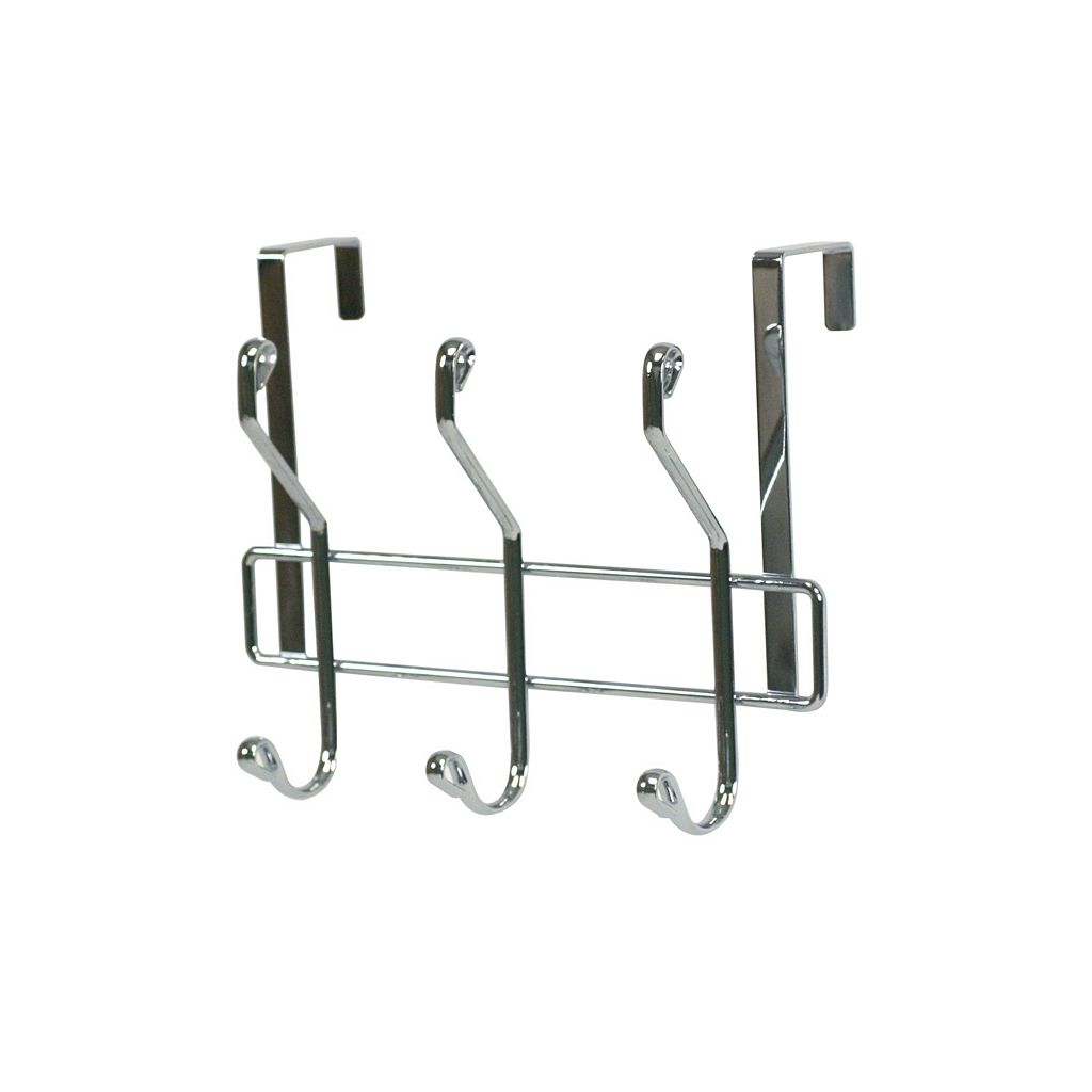 Home Basics Chrome Over The Door 3 Hook Hanging Rack